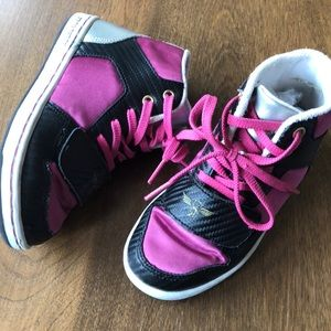 Creative Recreation girls pink satin high top 12